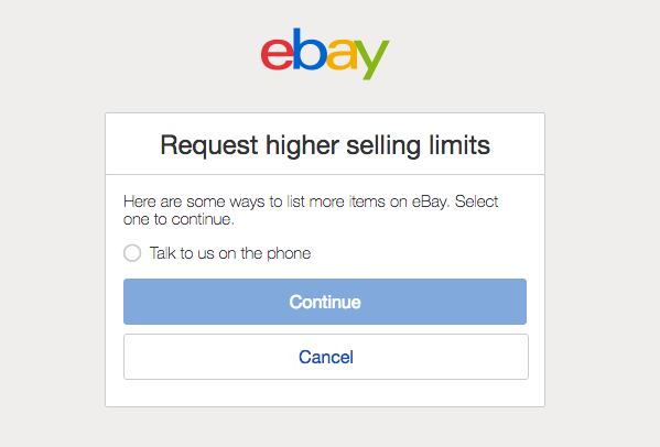 Request higher selling limits
